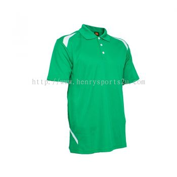 QD3466 Oren Sport Quick Dry Collar Tshirt MILO GREEN with WHITE