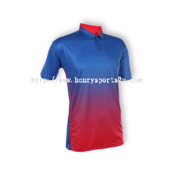 QD3708 Oren Sport Quick Dry Collar Tshirt ROYAL with RED