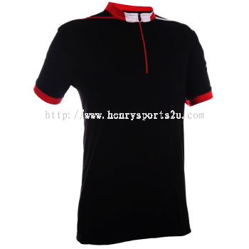 QD4102 Oren Sport Quick Dry Mock Neck Tshirt BLACK with RED with WHITE(ZIPPER)