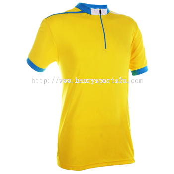 QD4104 Oren Sport Quick Dry Mock Neck Tshirt YELLOW with SEA BLUE with WHITE(ZIPPER)