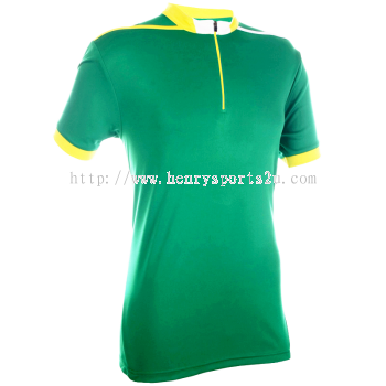 QD4166 Oren Sport Quick Dry Mock Neck Tshirt MILO GREEN with YELLOW with WHITE (ZIPPER)