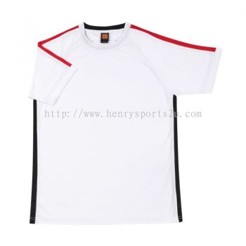 QD4200 Oren Sport Quick Dry Round Neck WHITE with RED with BLACK