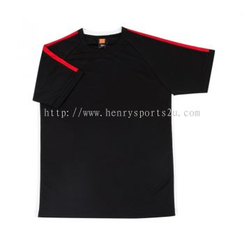 QD4202 Oren Sport Quick Dry Round Neck BLACK with RED with WHITE