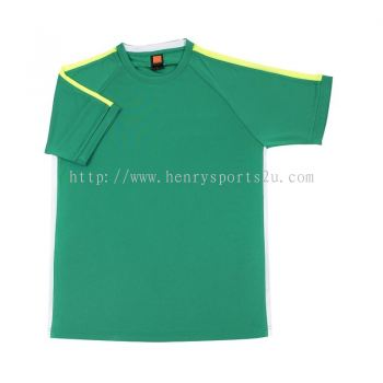 QD4266 Oren Sport Quick Dry Round Neck MILO GREEN with NEON YELLOW with WHITE