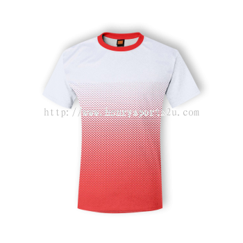 QD4300 Oren Sport Quick Dry Round Neck WHITE with RED