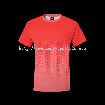 QD4305 Oren Sport Quick Dry Round Neck RED with PEACH