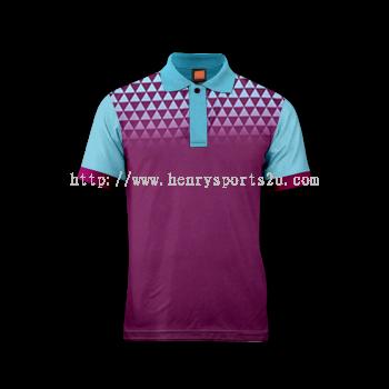 QD4430 Oren Sport Quick Dry Collar Tshirt PURPLE with SKY BLUE