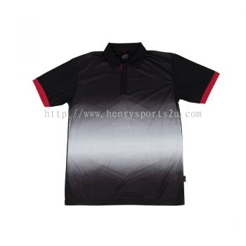QD4502 Oren Sport Quick Dry Collar Tshirt BLACK with RED