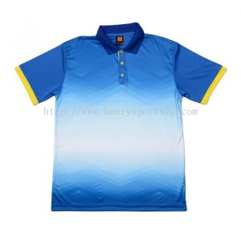 QD4508 Oren Sport Quick Dry Collar Tshirt ROYAL with YELLOW