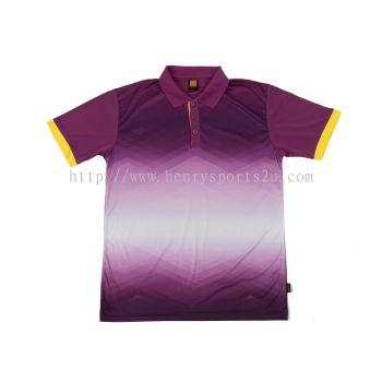 QD4530 Oren Sport Quick Dry Collar Tshirt PURPLE with YELLOW