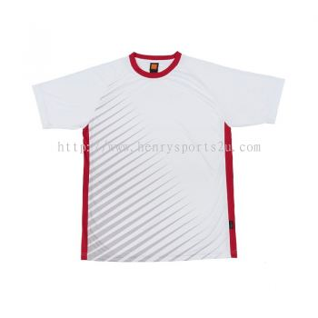 QD46 Oren Sport Quick Dry Round Neck WHITE with RED