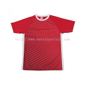 QD4605 Oren Sport Quick Dry Round Neck RED with WHITE