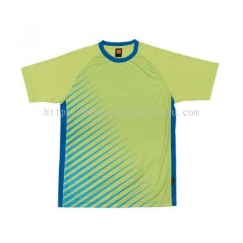 QD4613 Oren Sport Quick Dry Round Neck LIME GREEN with ROYAL