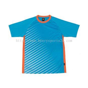 QD4628 Oren Sport Quick Dry Round Neck SEA BLUE with ORANGE