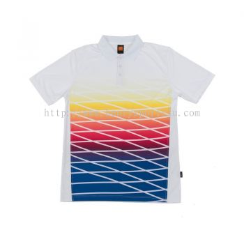 QD4700 Oren Sport Quick Dry Collar Tshirt WHITE with YELLOW with RED with ROYAL BLUE