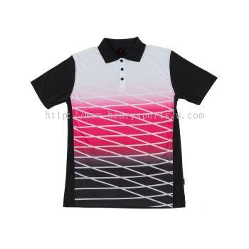 QD4702 Oren Sport Quick Dry Collar Tshirt  BLACK with PINK