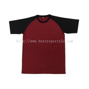 QD4805 Oren Sport Quick Dry Raglan Round Neck RED BLACK