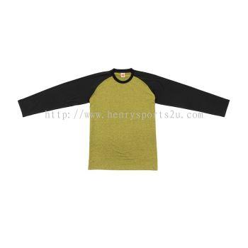 QD4904 Oren Sport Quick Dry Raglan Round Neck Long Sleeve YELLOW BLACK