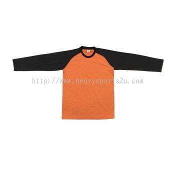 QD4907 Oren Sport Quick Dry Raglan Round Neck Long Sleeve ORANGE BLACK