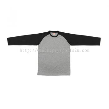 QD4909 Oren Sport Quick Dry Raglan Round Neck Long Sleeve ASH GREY BLACK