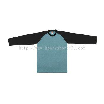 QD4910 Oren Sport Quick Dry Raglan Round Neck Long Sleeve LIGHT BLUE BLACK