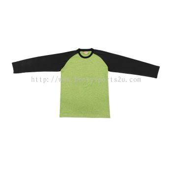 QD4969 Oren Sport Quick Dry Raglan Round Neck Long Sleeve NEON YELLOW BLACK