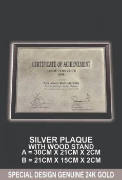 SILVER PLAQUE WITH WOOD STAND