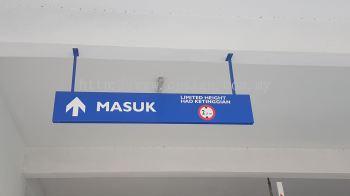 carpark alluminium box hanging sign