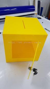 YELLOW ACRYLIC DONATION BOX