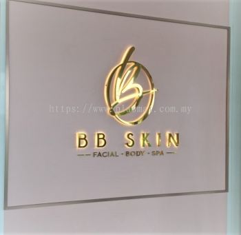 Stainless steel mirror Gold box up logo with warm white LED light
