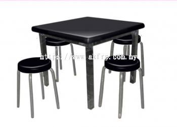 Square Restaurant Table with 4 seats