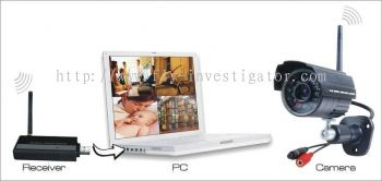 2.4G Digital Wireless Receiver with 4 IR Waterproof Cameras