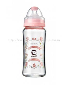Crystal Romance Wide Neck Glass Feeding Bottle (Rose)-270ml