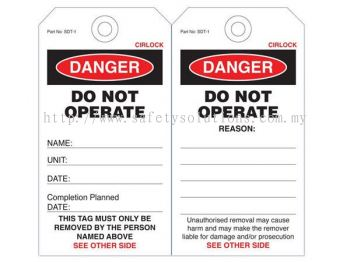 Cirlock Danger Tags - DO NOT OPERATE - Can be ripped