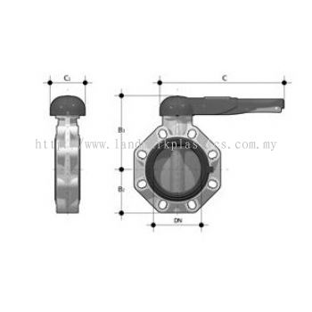 Plastic Butterfly valves with locking lever for PVDF-pipes