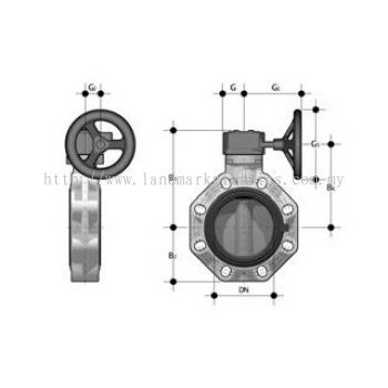 Plastic Butterfly valves with hand lever for PE/PP-pipes