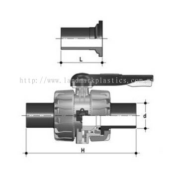 PP 2-way ball valves with elongated butt fusion ends in PE 100, FPM