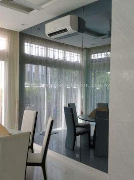 Dining room tempered glass grey mirror