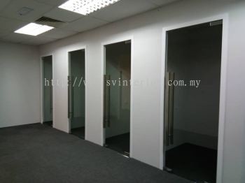 partition wall panel with tempered glass door