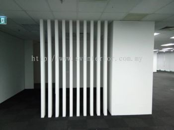 Office partition wall panel with design