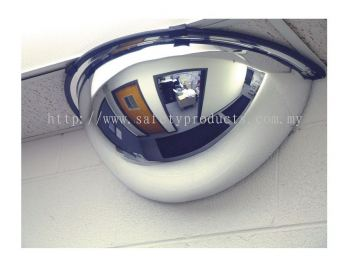 "Half Dome Safety Convex Mirror 180 Degree, 32"" Diameter"