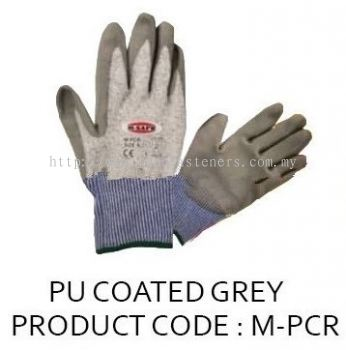 M-SAFE CUT RESISTANT GLOVE-GREY PU COATED