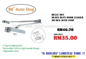 BELLE 061 HEAVY DUTY DOOR CLOSER 90 DEG AUTO STOP