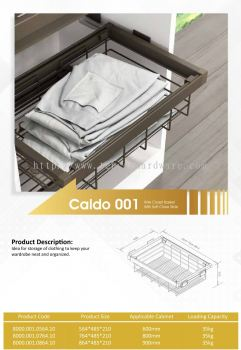 CALDO 001 WIRE CLOSET BASKET WITH SOFT CLOSE SLIDE
