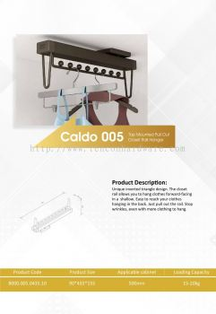 CALDO 005 TOP MOUNTED PULL OUT CLOSET RAIL HANGER