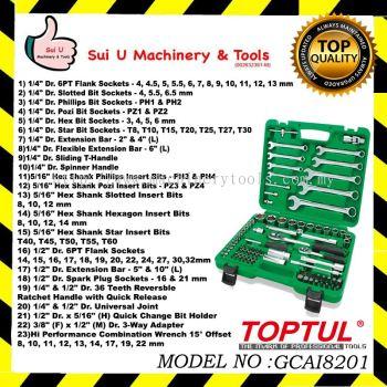 "TOPTUL GCAI8201 Professional Grade DR. Flank Socket Wrench Set 82PCS 1/4""&1/2"""