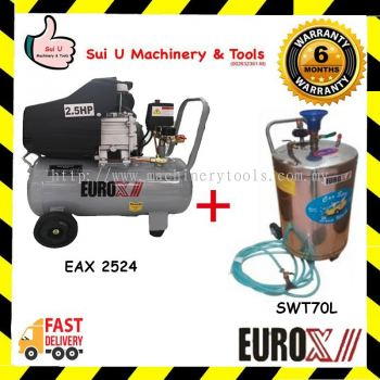 Eurox Stainless Steel Snow Wash Tank & Eurox EAX-2524 Air Compressor 2.5hp 24litre