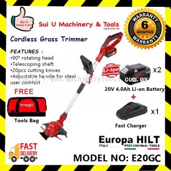 Europa Hilt E20GC Cordless Grass Trimmer With Starter Kit 2.0 (2 x 4.0Ah Batteries +1 x Charger + 1 x Tool Bag )
