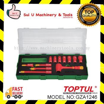 """Toptul GZA1246 12PCS 1/4"""" DR. VDE 6PT Flank Socket Set"""