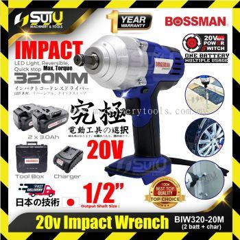 BOSSMAN BIW320-20M Cordless Impact Wrench 20V + 1 Charger + 2x 3.0Ah Battery